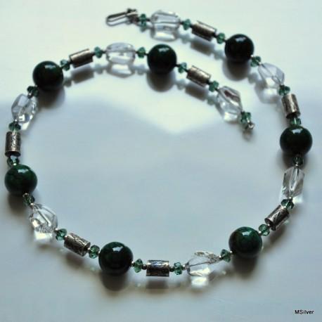 Naszyjnik z zielonym kamieniem agatem
