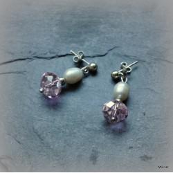 46. Kolczyki perłowo - różowe