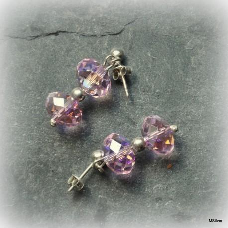 Kolczyki różowe kryształki