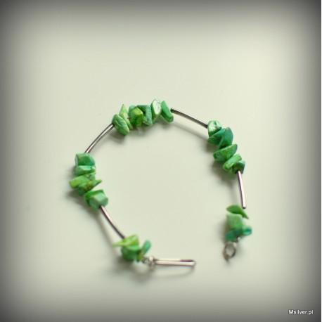 Srebrna bransoletka z zielonym turkusem