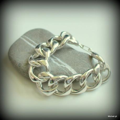 Srebrna bransoletka z ręcznie giętych kółek