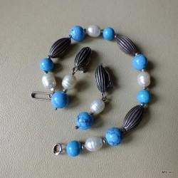 49. Komplet biżuterii z turkusem i perłą