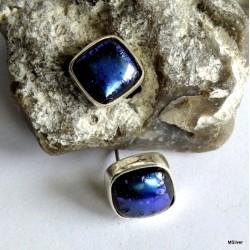 40. Kolczyki srebrne z niebieskim,metalicznym szkłem
