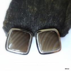 119. Klipsy srebrne z krzemieniem pasiastym