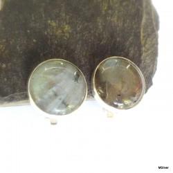 122. Klipsy srebrne ze spektrolitem