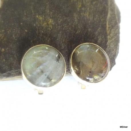 13. Klipsy srebrne ze spektrolitem