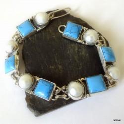 15. Srebrna bransoletka z turkusami i perłami
