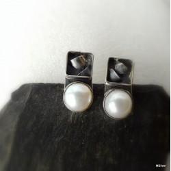 310. Kolczyki srebrne z perłami