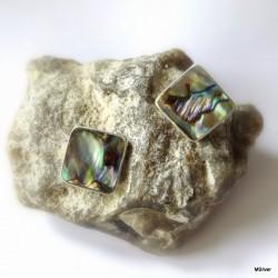34. Kolczyki srebrne z zieloną masą perłową
