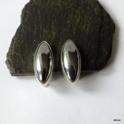 159. Klipsy srebrne z hematytem