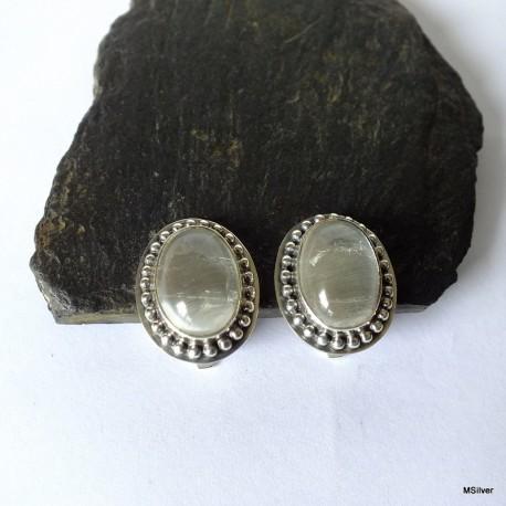 161. Klipsy srebrne z kryształem górskim