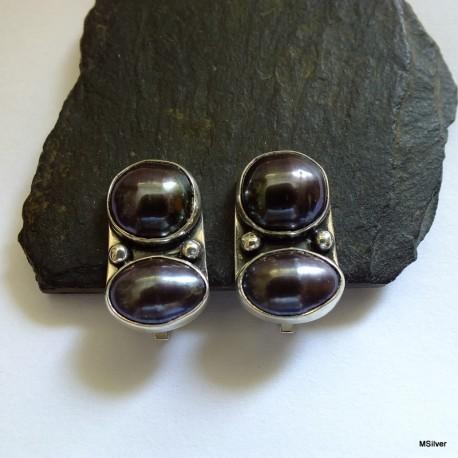 163. Klipsy srebrne z czarnymi perłami