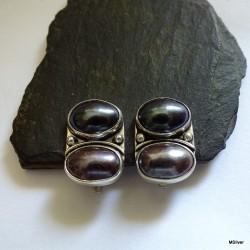 164. Klipsy srebrne z czarnymi perłami