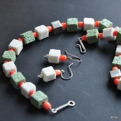 Komplet biżuterii z lawy wulkanicznej i korala