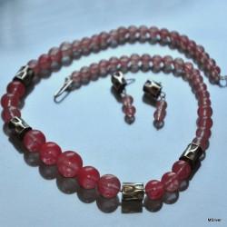 Komplet biżuterii z łososiowego kwarcu