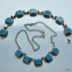 Komplet biżuterii - turkusowe kwadraciki