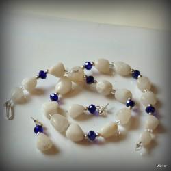 Komplet biżuterii z białym agatem i szafirowym kryształem Swarovskiego