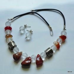 Komplet biżuterii z agatów i szlifowanego kryształu