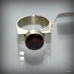 """Srebrny pierścionek - sygnet """"czerwone wino"""""""
