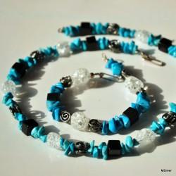 Srebrna bransoletka z kwarcem lodowym i niebieskim howlitem