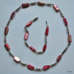 Srebrna bransoletka z czerwoną masą perłową